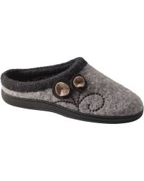 Acorn Dara Slippers - Light Grey Button - Womens