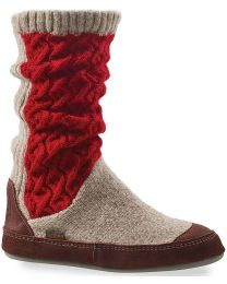 Acorn Slouch Boot Slipper - Red Cable Knit - Women