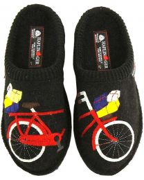 Haflinger Bicycle Slippers - Black - Womens