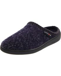 Haflinger Boiled Wool Slippers with Hardsole AT70 - Navy Speckle - Womens